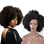 Sunwell 7A Unprocessed Brazilian Human Virgin Hair Afro Kinky Curly Lace Front Wig for Black Women, Natural Colour 130% Density