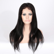 Wigsroyal Unprocessed Straight Indian Remy Human Hair Full Lace Front Wig With Baby Hair 50cm #1 Large Cap Size