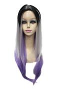 Black Grey Purple Mixed Colour Long Straight Gradient Colour centre-parted Bangs Heat Resistant Fibre Cosplay Wigs