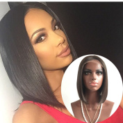 Fennell Virgin Human Hair Bob Lace Front Wigs Bleached Knots With Baby Hair Natural Colour 130% Density Full Lace Wig For Black Women(25cm - 41cm )