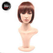 Secretgirl Bob Hair Style Wig with Bangs Synthetic Light Brown Wig for Women Heat Resistant Fibre