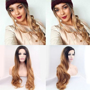 Xiweiya Dark Honey Blonde Ombre Wavy Synthetic Lace Front Wig With Heat Resistant For Women Hand Tied Replacement wig