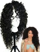 Deep Curly Heat Resistant Fibre Synthetic Lace Front Wigs for Black Women L Part 60cm