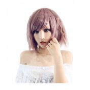 Besgo 36cm Shoulder Length Slight Wave Purple Dusk to Pink Hair Rose Net Wig For Women Cosplay Costume