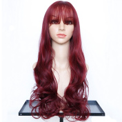 Dreambeauty Long Wave Curly Synthetic Wig with Bangs for Women, Wig Cap as a Gift