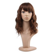 Besgo 43cm Natural Curly Wave Rose Net Hair Brown Wig for Women Cosplay Party Costume