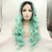 Xiweiya Dark Roots Ombre Green Mermaid Body Wave Synthetic Lace Front Wig For Women Hand Tied Two Tone Heat Resistant Hair Wigs
