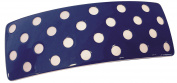 French Amie Blue with White Polka Dots Wide Celluloid Handmade Automatic Hair Clip Hair Barrette for Girls