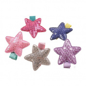 5Pcs Five Colour Star Hair Clips Colourful Star Hair Bow Cuter Kids Toddlers Girls Hair Clips Christmas Party Hair Style