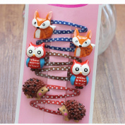 Multicolorful Choise 6 pcs Cute Tree Animals Design Hair Clips Baby Hairpins Grils Hair Accessory