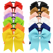YOY 12 Pcs Fashion Baby Girls Boutique Hair Ties Ponytail Holders - Stretchy Elastic Ropes Rubber Bands Hair Accessories Set with Grosgrain Ribbon Bows 11cm for Toddlers Teens Kids