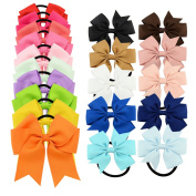 YOY 20 Pcs Fashion Baby Girls Boutique Hair Ties Ponytail Holders - Stretchy Elastic Ropes Rubber Bands Hair Accessories Set with Grosgrain Ribbon Bows 11cm and 7.6cm for Toddlers Teens Kids