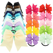 YOY 20 Pcs Fashion Baby Girls Boutique Hair Ties Ponytail Holders - Stretchy Elastic Ropes Rubber Bands Hair Accessories Set with Grosgrain Ribbon Bows 20cm and 7.6cm for Toddlers Teens Kids