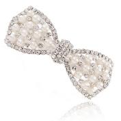 MANDI HOME Crystal Sparkling Bowknot Hair Pins Rhinestone Pearl Hair Clip Hairpin