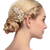 MANDI HOME Crystal Bridal Wedding Flower Hair Pins for Women and Girls Comb Hairpins