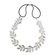 Lux Accessories Silver tone Casted Leaves Vines Leaf Hair Crown Headwrap