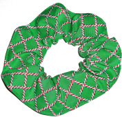 Christmas Candy Cane Print Green Fabric Hair Scrunchie Handmade by Scrunchies by Sherry