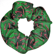 Christmas Candy Cane Green Plaid Fabric Hair Scrunchie Handmade by Scrunchies by Sherry