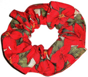 Christmas Poinsettias Fabric Hair Scrunchie Handmade by Scrunchies by Sherry