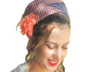 Sara Attali Design Tichel Headscarf Half Hair Covering Reversible Wrap Headband One Size Peach Grey