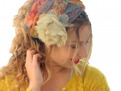 Sara Attali Design Tichel Headscarf Half Hair Covering Jolly Wrap Headband One Size With Flower Pin