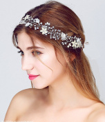 Headband Rhinestone Crystal Pearl Flower Wedding Bridal Headband Hair Headband