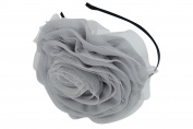 Gothic Couture Renaissance Oversized Chiffon Flower Headband Fascinator Grey