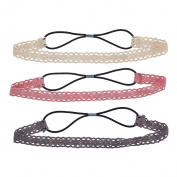 Lux Accessories Ivory Pink Grey Crochet Headband Set