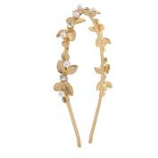 Lux Accessories GoldTone Pearl Crystal Rhinestone Floral Leaf Metal Headband