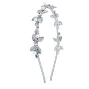 Lux Accessories SilverTone Pearl Crystal Rhinestone Floral Leaf Metal Headband