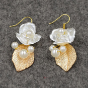 Handmade Baroque Pearls, Flowers Gold Leaves Earrings Jewellery For Wedding/Sweet Sixteen/Quinceanera