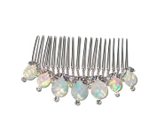 Abalone and Crystal Silver Tone Hair Comb