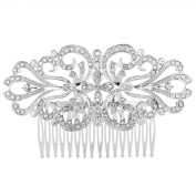 EVER FAITH Women's Austrian Crystal Charming Flower Knot Bridal Hair Side Comb Clear Silver-Tone