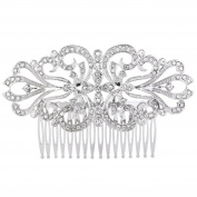 EVER FAITH Women's Austrian Crystal Charming Flower Knot Bridal Hair Side Comb Clear Silver-Tone