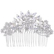 EVER FAITH Women's Austrian Crystal White Simulated Pearl Flower Leaf Hair Comb Clear Silver-Tone
