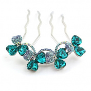 18K Gold Plating Flower Shaped Hair Jewellery, Czech Stones Alloy 4-Toothed Decorative Hair Combs CS21GD Dark Cyan