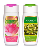 Lotus Shampoo & Olive Conditioner - ALL Natural - Paraben Free - Sulphate Free - Scalp Therapy - Suitable for All Hair Types - Each 110ml - Vaadi Herbals