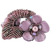 Bzybel Crystal Colourful Rhinestones Flower Luxury Hair Styling Claw Hair Comb for Women Girls (Flower three)