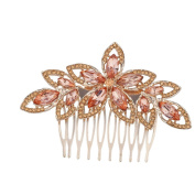 Lux Accessories Goldtone Pink Crystal Pave Bridal Bride Flower Floral Hair Comb