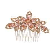 Lux Accessories Goldtone Pink Crystal Pave Bridal Bride Flower Floral Hair Comb