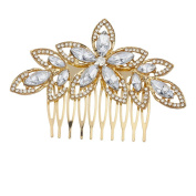 Lux Accessories Gold Tone and Crystal Pave Bridal Bride Flower Floral Hair Comb