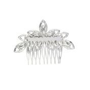 Lux Accessories Silvertone Crystal Pave Bridal Bride Flower Floral Hair Comb