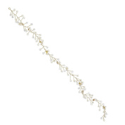 Lux Accessories Gold tone and Pearl Bridal Birds Breath Wire Vine Hair Piece