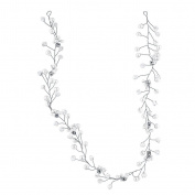 Lux Accessories Silvertone and Pearl Bridal Birds Breath Wire Vine Hair Piece