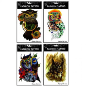 Grashine long last and realistic temp tattoo stickers 4pcs different colourful owl temporary tattoo in 1 package