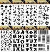 Grashine 8pcs different long last and realistic temporary tattoos in 1package, it including stars,suns,26 English letters and barcode tattoo stickers