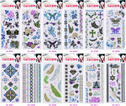 Grashine 12pcs Glitter long last and realistic temp tattoo stickers in one package,it including feathers,diamond,totem,jewellery,roses,flowers,butterflies,etc.