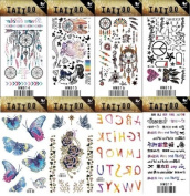 Grashine 8pcs different long last and realistic temporary tattoos in 1package, it including 26 English letters and Indiana tribal toem,flowers,butterflies,roses tattoo stickers