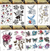 Grashine 8pcs different long last and realistic temporary tattoos in 1package, it including colourful butterflies,roses,flower and phoenix tattoo stickers