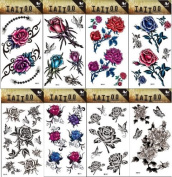 Grashine 8pcs different long last and realistic temporary tattoos in 1package, it including colourful flowers, black and white flowers, butterflies tattoo stickers